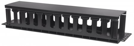 "19"" Cable Management Panel - , 19"" Rackmount Cable Manager, 2U, with Cover, Black"
