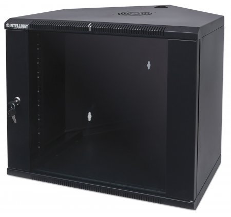 "19"" Corner Wallmount Cabinet - , 9U, Assembled, 600 mm (23.62 in.) Depth, Black"