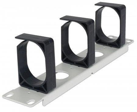 Kabelmanagement für 10''-Schränke INTELLINET 1 HE, drei große Kunststoffringe, grau