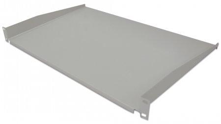 19'' Fachboden zur Frontmontage INTELLINET 1 HE, Montage an den beiden vorderen Profilschienen, 350 mm Tiefe, nicht perforiert, grau