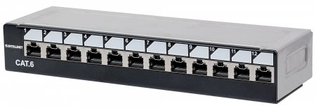 Locking Desktop Cat6 Unshielded Patch Panel - Adds additional security to physical network access points, 12 Port, UTP, 1U, Top Entry Punch Down, Locking Function, Black & Silver
