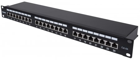 24-Port Cat6a Patchpanel, geschirmt INTELLINET FTP, 1 HE, Klemmleisten mit 90 Grad abgewinkelten Kabeleinführungen, schwarz