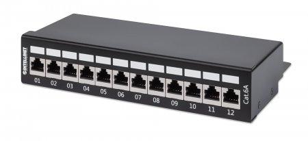 12-Port Cat6a Patchpanel, geschirmt INTELLINET Desktop, FTP, Klemmleisten mit 90 Grad abgewinkelten Kabeleinführungen, schwarz