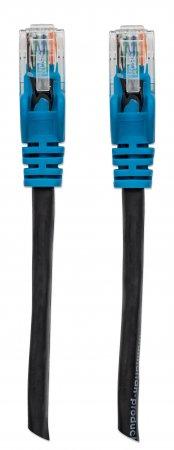 Netzwerkkabel, Cat5e, UTP MANHATTAN RJ45 Stecker auf RJ45 Stecker, 3 m, schwarz mit blauer Tülle