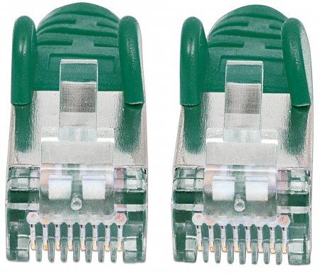 Premium Netzwerkkabel, Cat6a, S/FTP INTELLINET 100% Kupfer, Cat6a-zertifiziert, LS0H, RJ45-Stecker/RJ45-Stecker, 10,0 m, grün