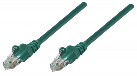 Premium Netzwerkkabel, Cat6, U/UTP INTELLINET 100% Kupfer, Cat6-zertifiziert, RJ45-Stecker/RJ45-Stecker, 7,5 m, grün