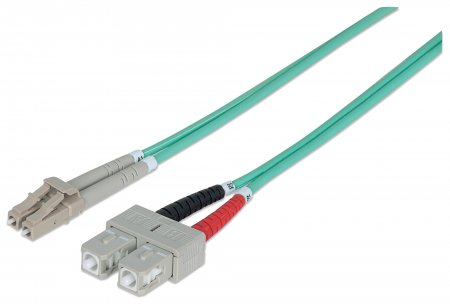 Fiber Optic Patch Cable, Duplex, Multimode - , LC/SC, 50/125 µm, OM3, 1.0 m (3.0 ft.), Aqua