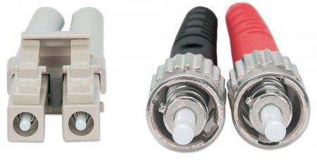 Glasfaser LWL-Anschlusskabel, Duplex, Multimode INTELLINET ST/LC, 50/125 µm, OM3, 2 m, Aqua