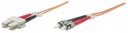 Fiber Optic Patch Cable, Duplex, Multimode - , ST/SC, 62.5/125 µm, OM1, 20.0 m (66 ft.), Orange