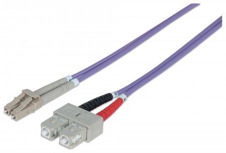 Glasfaser LWL-Anschlusskabel, Duplex, Multimode INTELLINET LC/SC, 50/125 µ, OM4, 20 m, violett