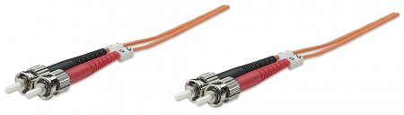 Fiber Optic Patch Cable, Duplex, Multimode  - , ST/ST, 62.5/125 µm, OM1, 30 m (100 ft.), Orange