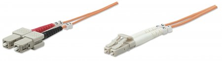 Fiber Optic Patch Cable, Duplex, Multimode - , LC/SC, 62.5/125 µm, OM1, 30 m (100 ft.), Orange