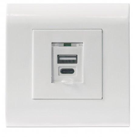 Unterputzdose mit einem USB Typ A-Ladeport und einem USB Typ C-Ladeport INTELLINET Zwei USB-Ladeports mit Staubschutzklappe und 5 V / 2,1 A Ausgangsleistung, Frontblende im europäischen Format 80 x 80