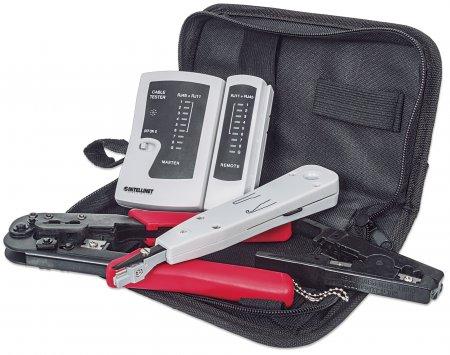 4-teiliges Werkzeugset für Netzwerke INTELLINET 4-teiliges Netzwerk-Kit bestehend aus LAN-Tester, LSA-Auflegewerkzeug, Crimpzange und Abisolierwerkzeug