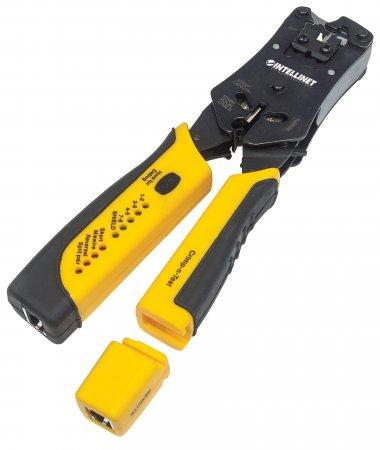 Universal Crimpwerkzeug und Kabeltester INTELLINET 2-in-1-Werkzeug zum Schneiden, Abisolieren, Crimpen und Testen