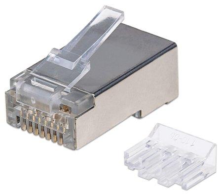 70er-Pack Cat6A RJ45-Modularstecker Pro Line INTELLINET STP, 3-Punkt-Aderkontaktierung, für Litzen- und Massivdraht, 70 Stecker im Becher, 50 µ vergoldete Kontakte