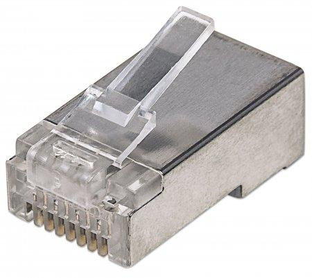 100er-Pack Cat5e RJ45-Modularstecker Pro Line INTELLINET STP, 3-Punkt-Aderkontaktierung, für Litzen- und Massivdraht, 100 Stecker im Becher, 50 µ vergoldete Kontakte