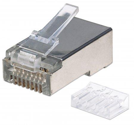 90er-Pack Cat6 RJ45-Modularstecker Pro Line INTELLINET STP, 3-Punkt-Aderkontaktierung, für Litzen- und Massivdraht, 90 Stecker im Becher, 50 µ vergoldete Kontakte