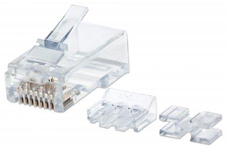 80er-Pack Cat6A RJ45-Modularstecker Pro Line INTELLINET UTP, 3-Punkt-Aderkontaktierung, für Massivdraht, 80 Stecker im Becher, 50 µ vergoldete Kontakte