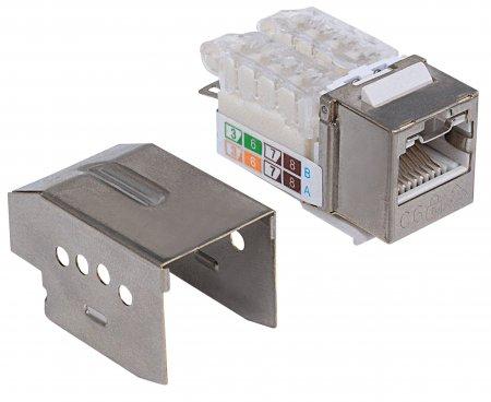 Abschließbare Cat6 Modularbuchse, geschirmt INTELLINET FTP, werkzeuglos, Metallgehäuse