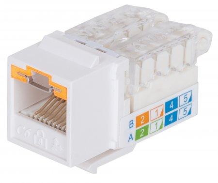 Abschließbare Cat6A Modularbuchse, ungeschirmt INTELLINET UTP, Keystone, werkzeuglos, weiß