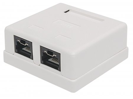 Locking Cat5e UTP Mount Box - Adds additional security to physical network access points, 2 Port, UTP, Mount Box, Locking Function, White