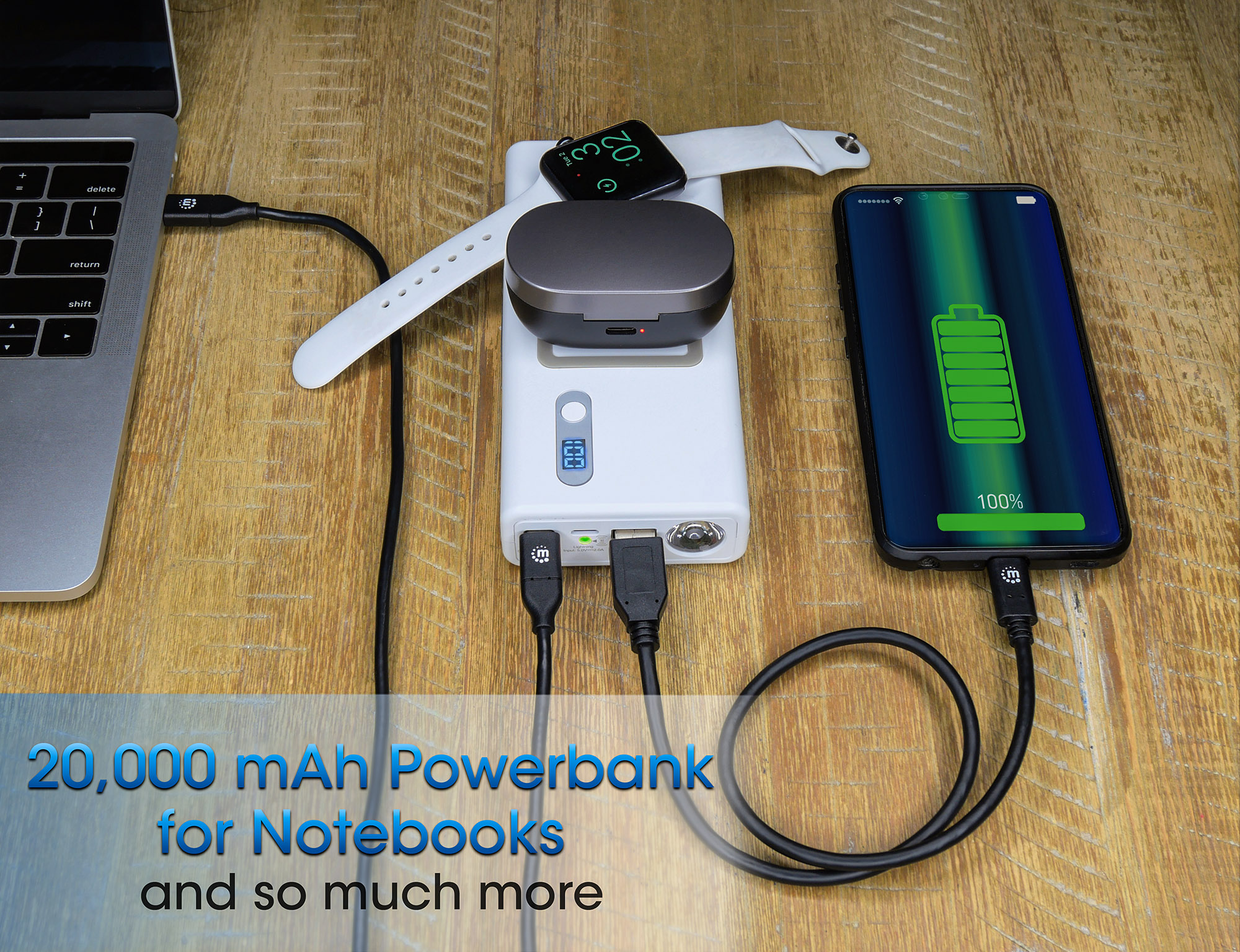 Powerbank 20,000 mAh with Power Delivery & Wireless Charging Pads