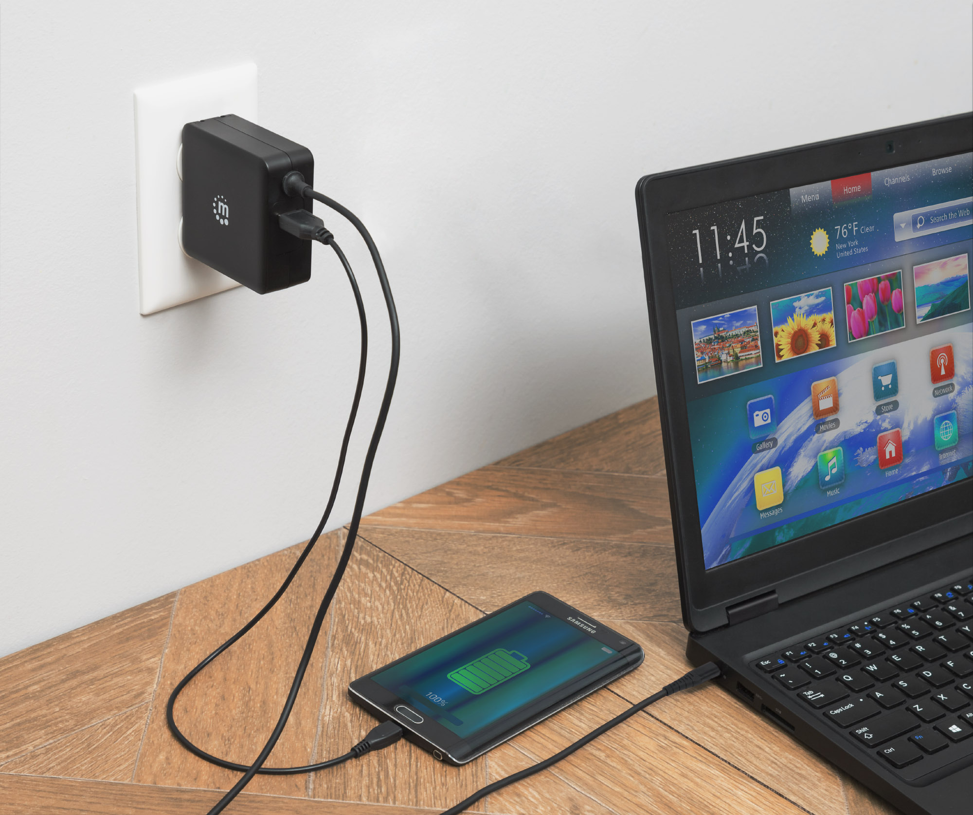 Power Delivery Wall Charger with Built-in USB-C Cable - 60 W