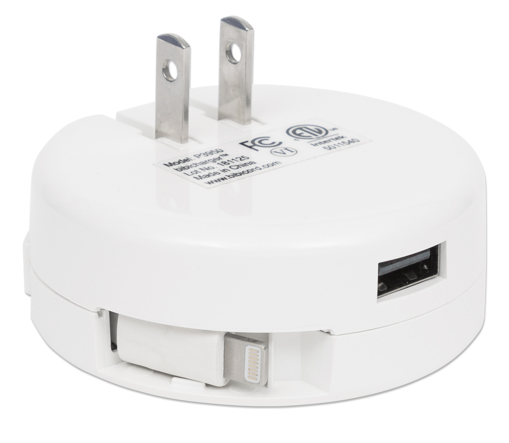 Retracting Lightning® Cable Wall Charger