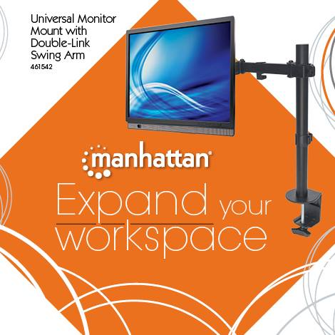 Universal Monitor Mount with Double-Link Swing Arm