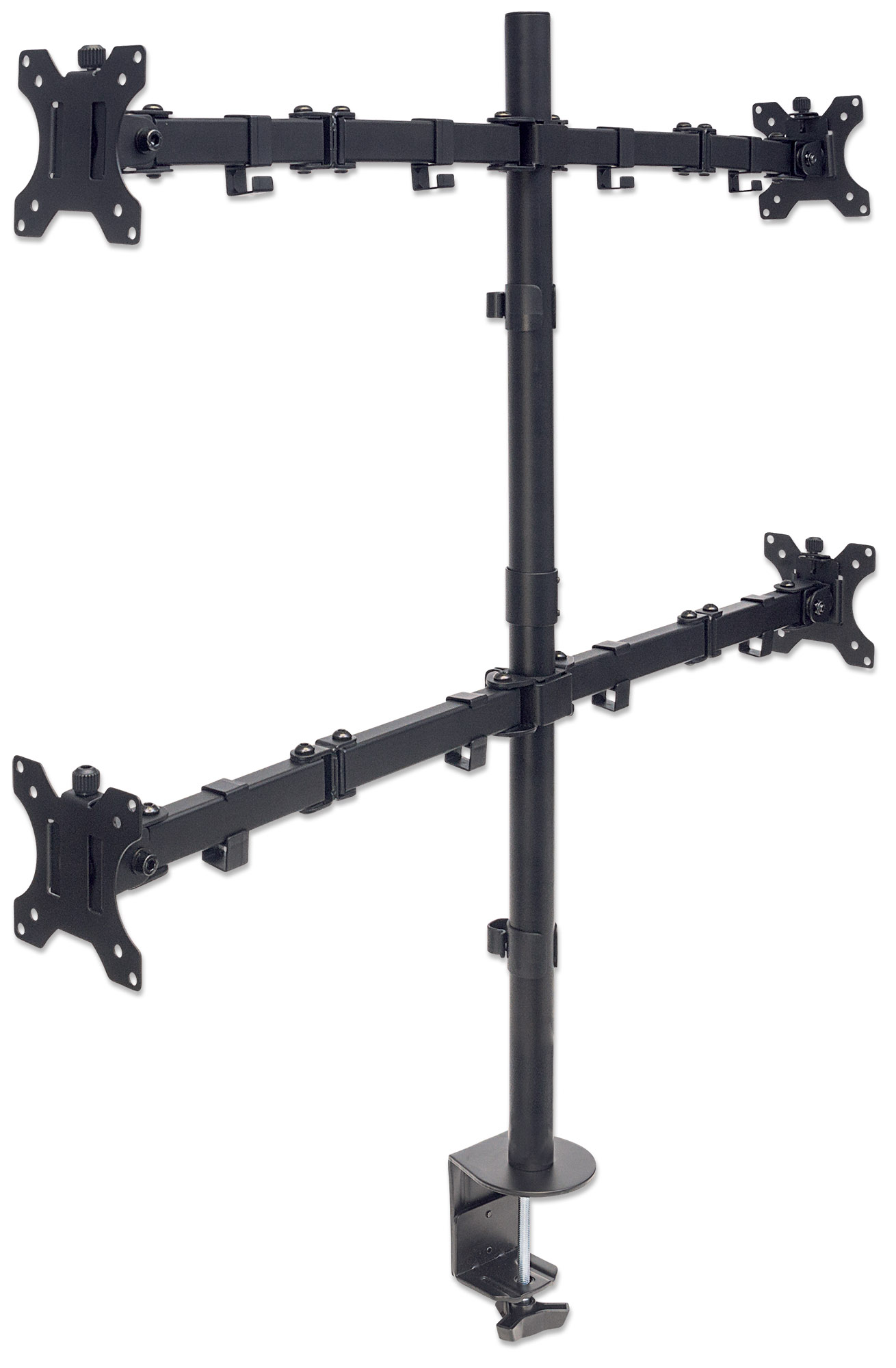 Universal Four Monitor Mount with Double-Link Swing Arms