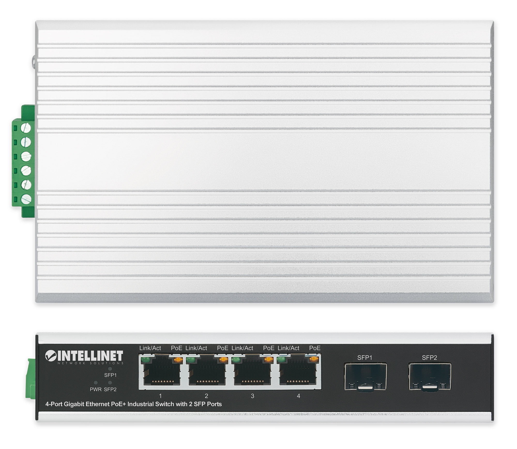 4-Port Gigabit Ethernet PoE+ Industrial Switch with 2 SFP Ports