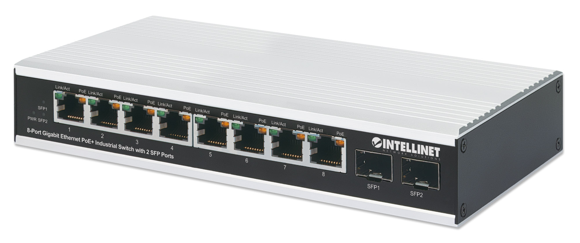 8-Port Gigabit Ethernet PoE+ Industrial Switch with 2 SFP Ports