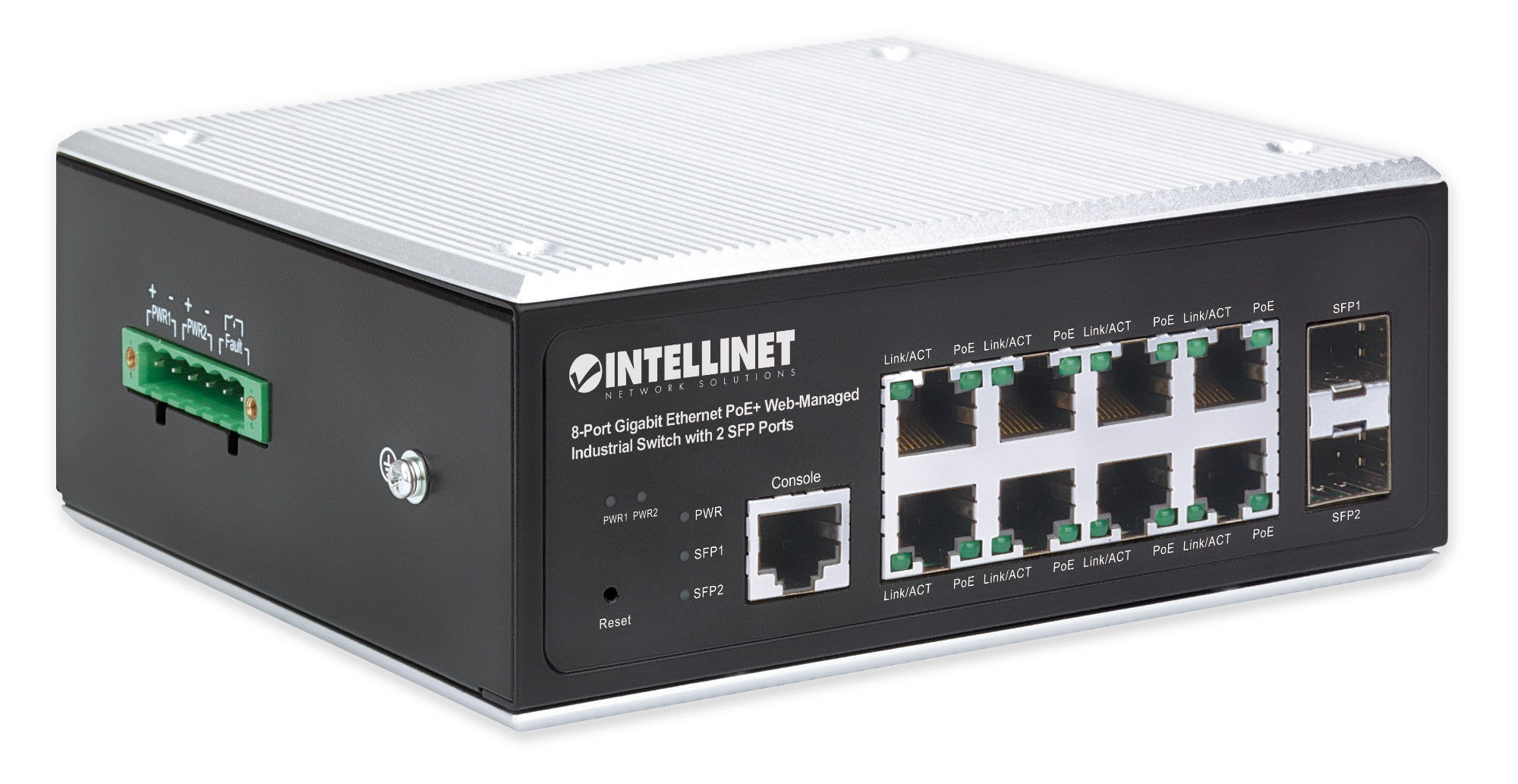 8-Port Gigabit Ethernet PoE+ Web-Managed Industrial Switch with 2 SFP Ports