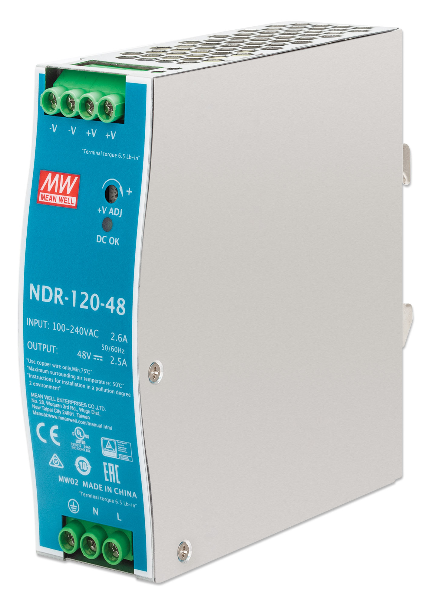 Industrial DIN-Rail Mount Power Supply Unit - 120 W