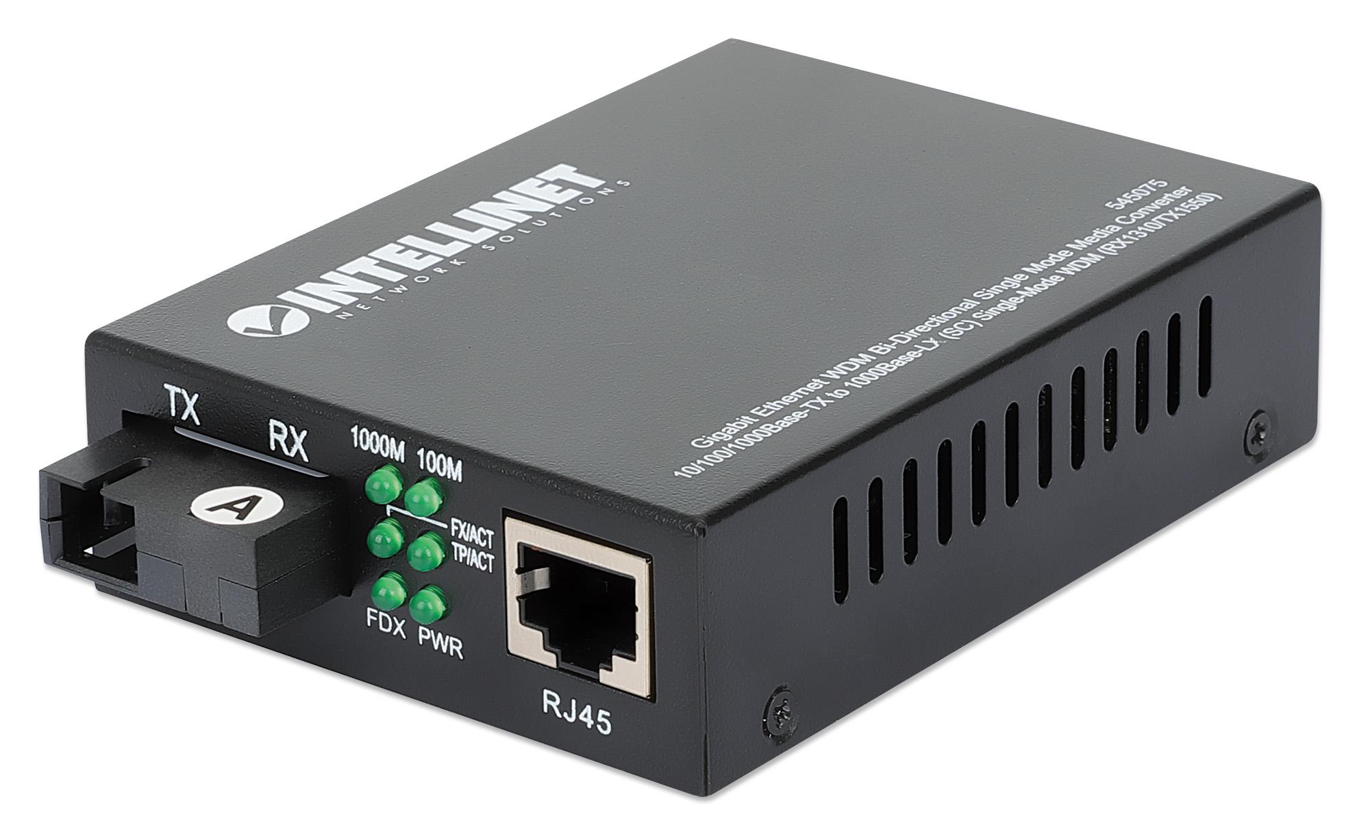 Gigabit Ethernet WDM Bi-Directional Single Mode Media Converter