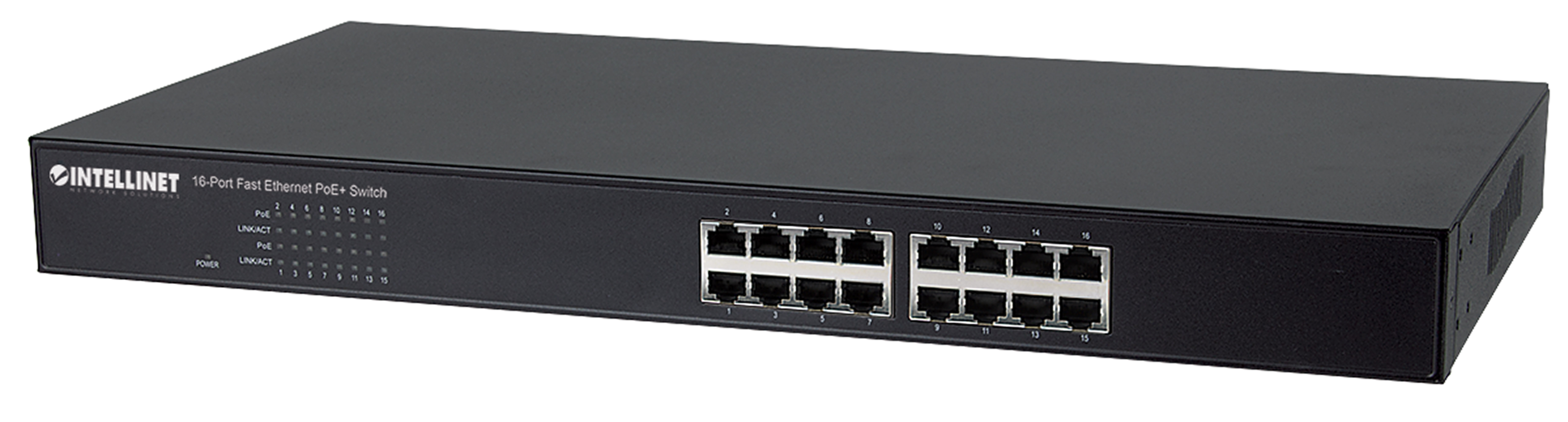 16-Port Fast Ethernet PoE+ Switch