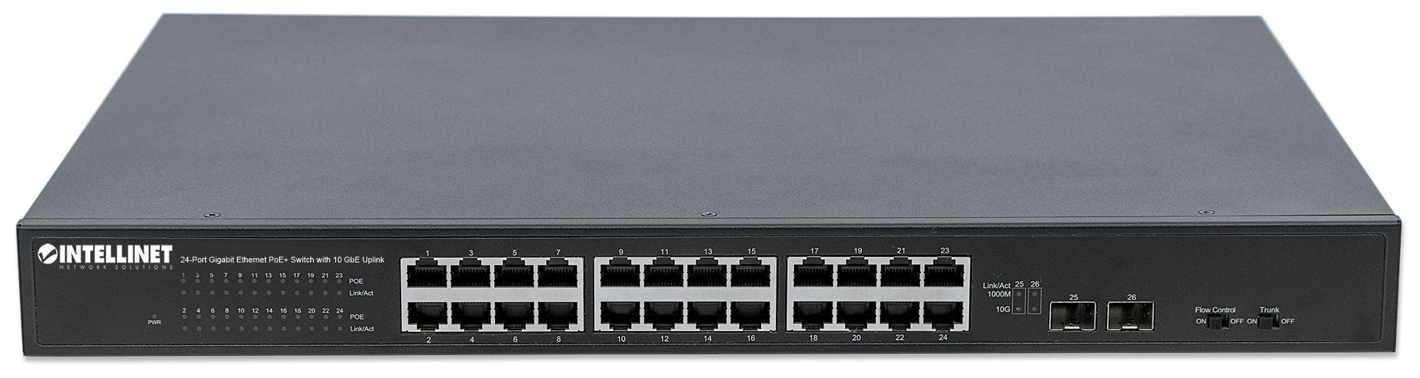 24-Port Gigabit Ethernet PoE+ Switch with 10 GbE Uplink