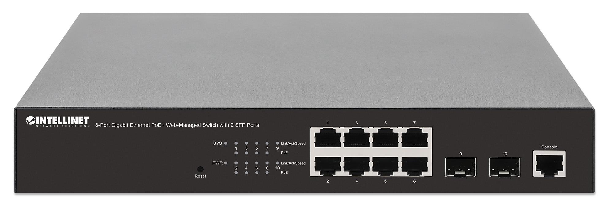 8-Port Gigabit Ethernet PoE+ Web-Managed Switch with 2 SFP Ports