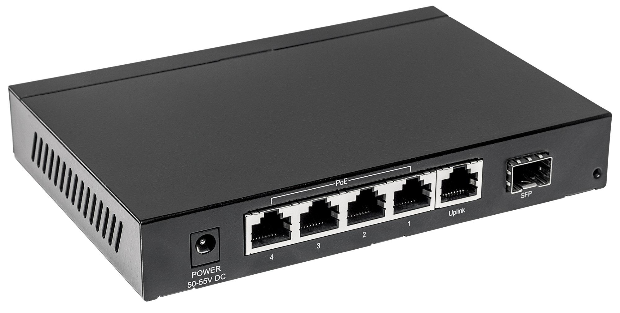 5-Port Gigabit Ethernet PoE+ Switch with SFP Combo Port