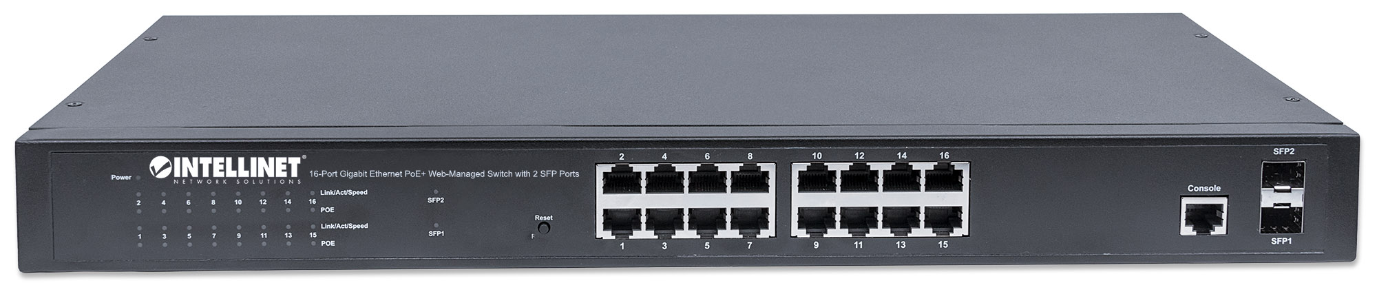 16-Port Gigabit Ethernet PoE+ Web-Managed Switch with 2 SFP Ports