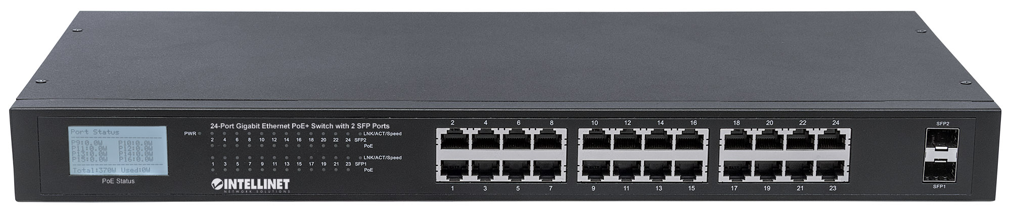 24-Port Gigabit Ethernet PoE+ Switch with 2 SFP Ports and LCD Screen