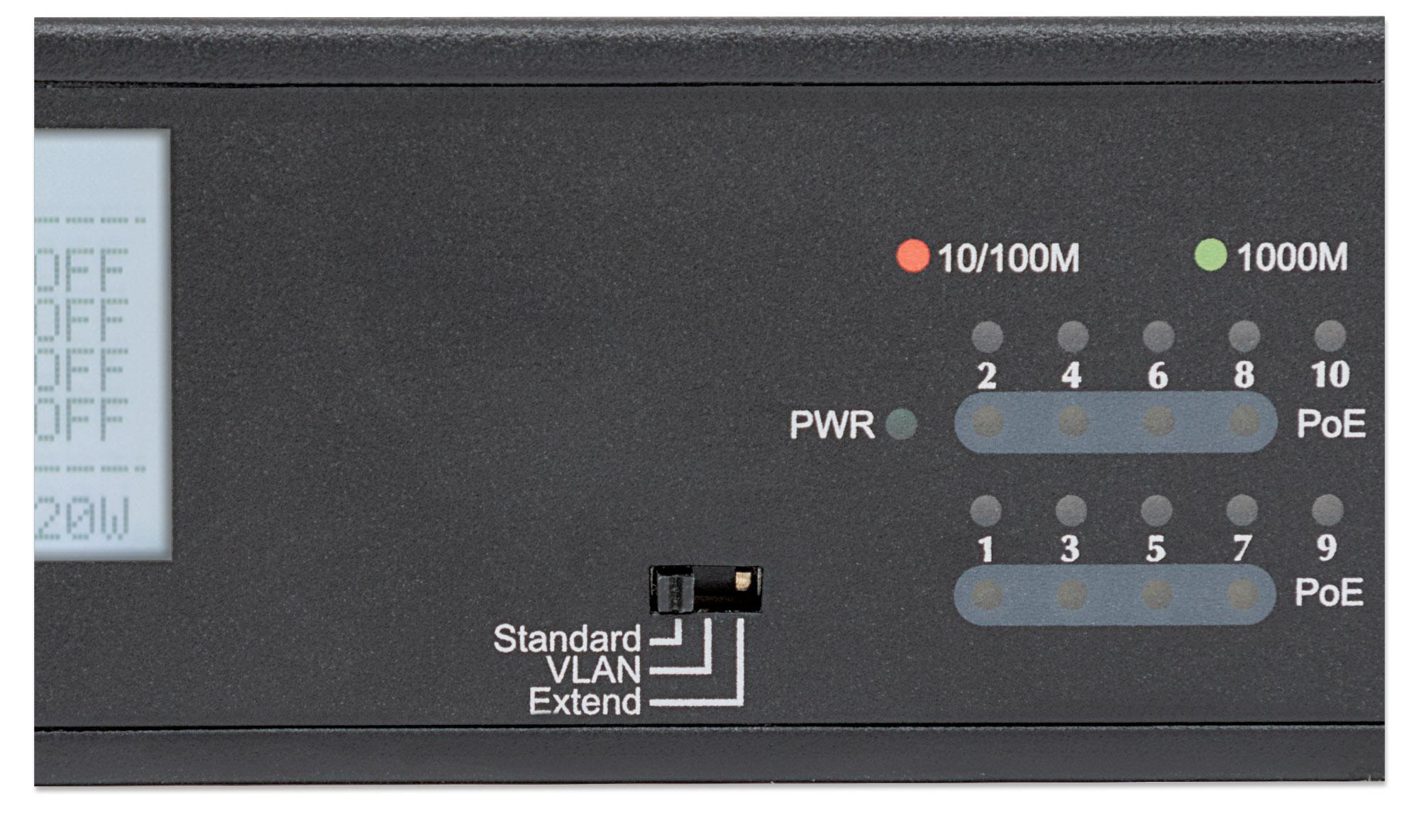8-Port Gigabit Ethernet PoE+ Switch with 2 RJ45 Gigabit Uplink Ports and LCD Screen