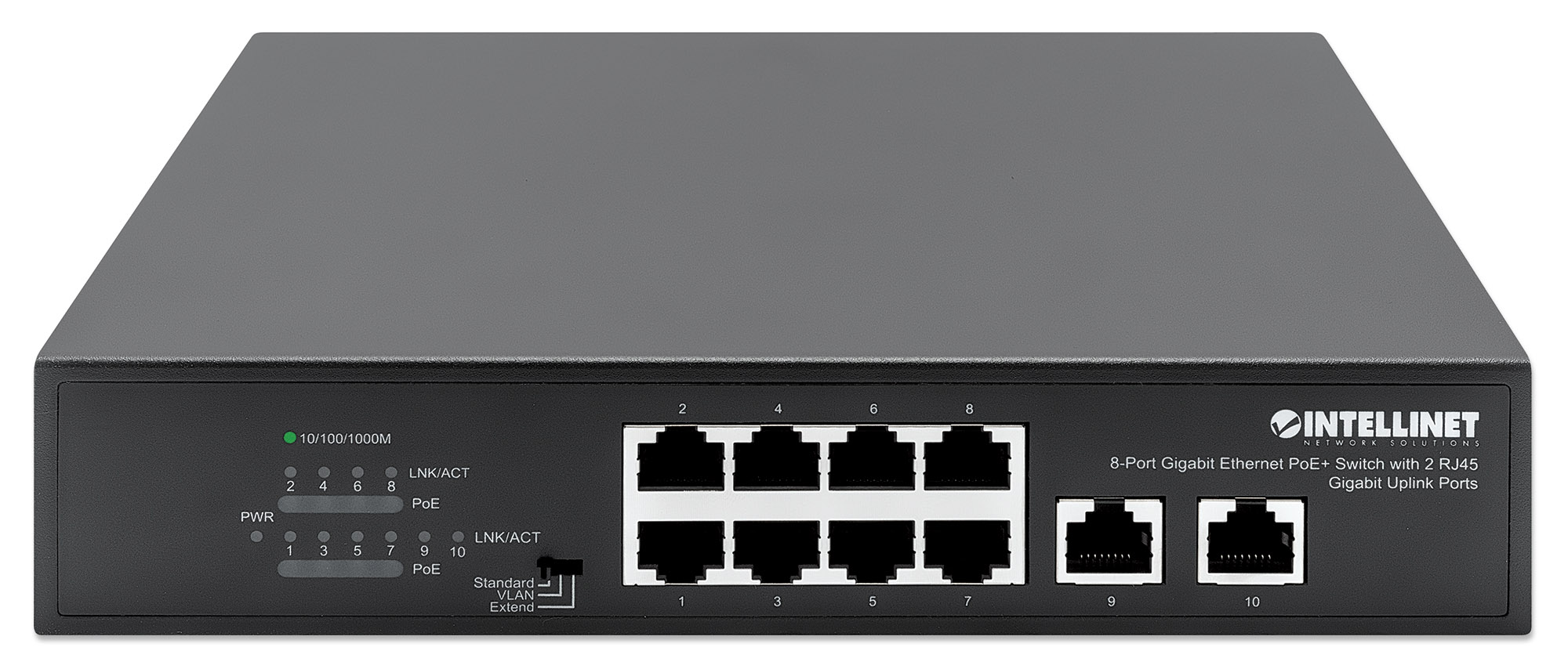 8-Port Gigabit Ethernet PoE+ Switch with 2 RJ45 Gigabit Uplink Ports
