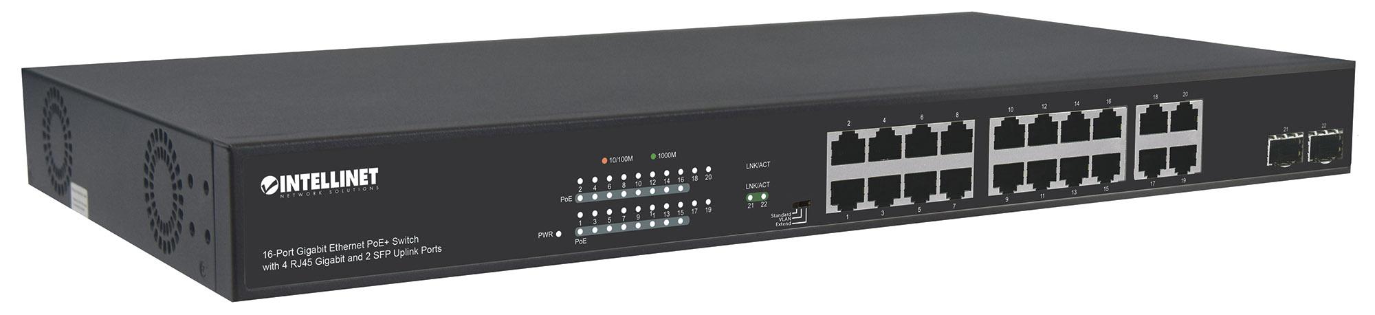 16-Port Gigabit Ethernet PoE+ Switch with 4 RJ45 Gigabit and 2 SFP Uplink Ports