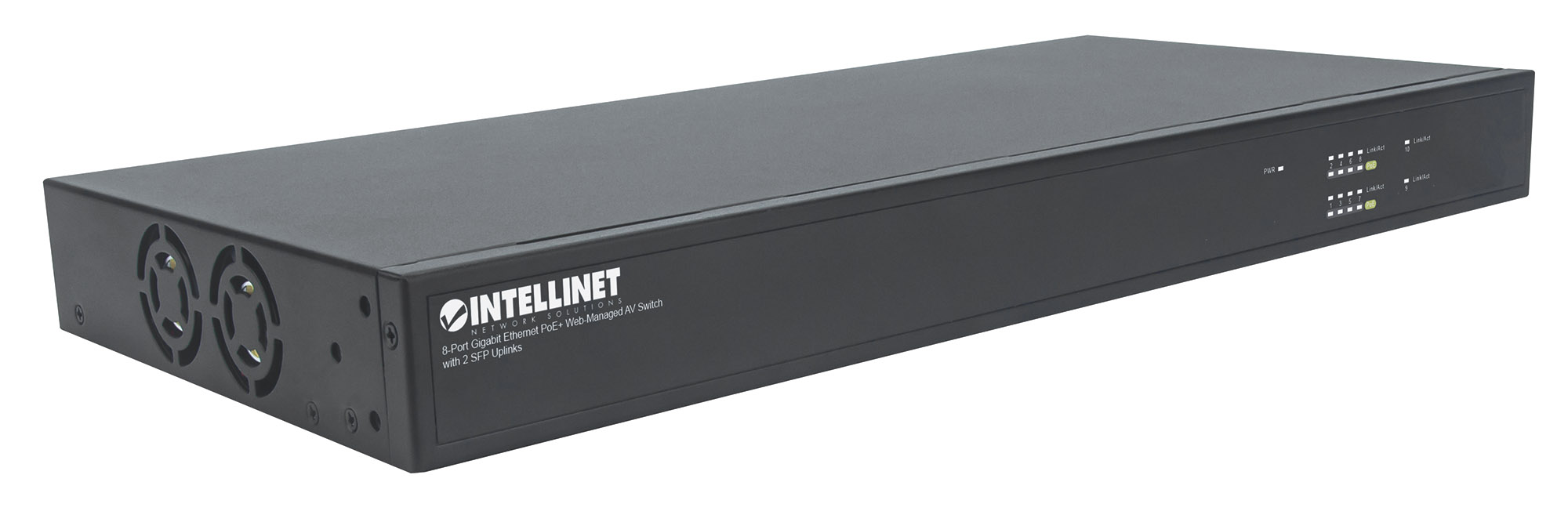 8-Port Gigabit Ethernet PoE+ Web-Managed AV Switch with 2 SFP Uplinks