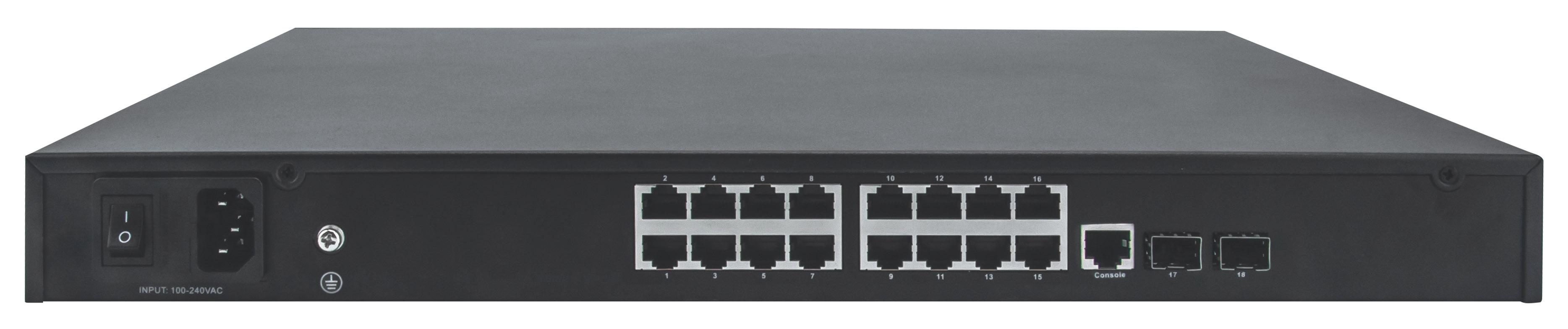 16-Port Gigabit Ethernet PoE+ Web-Managed AV Switch with 2 SFP Uplinks