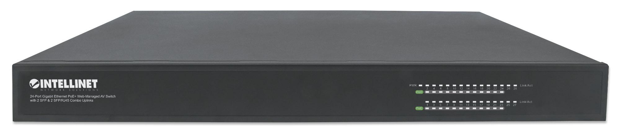 24-Port Gigabit Ethernet PoE+ Web-Managed AV Switch with 2 SFP & 2 SFP/RJ45 Combo Uplinks