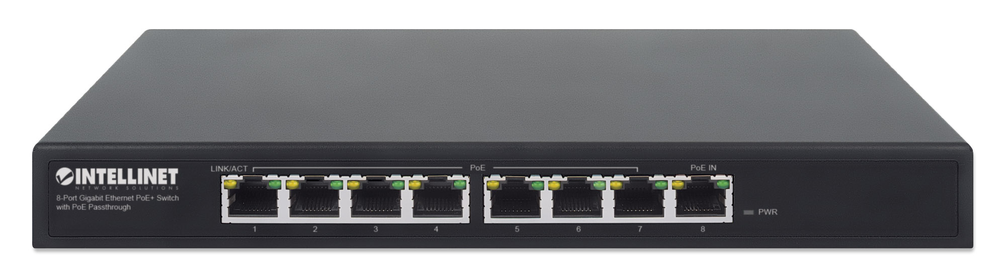 8-Port Gigabit Ethernet PoE+ Switch with PoE Passthrough