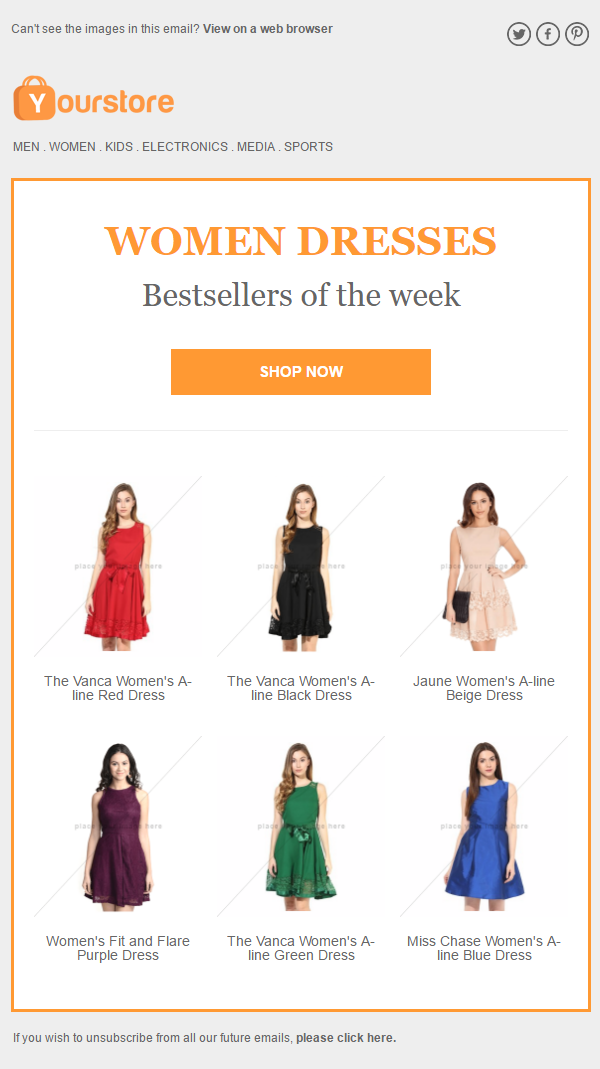 Best selling products with Classic theme | Ecommerce emails